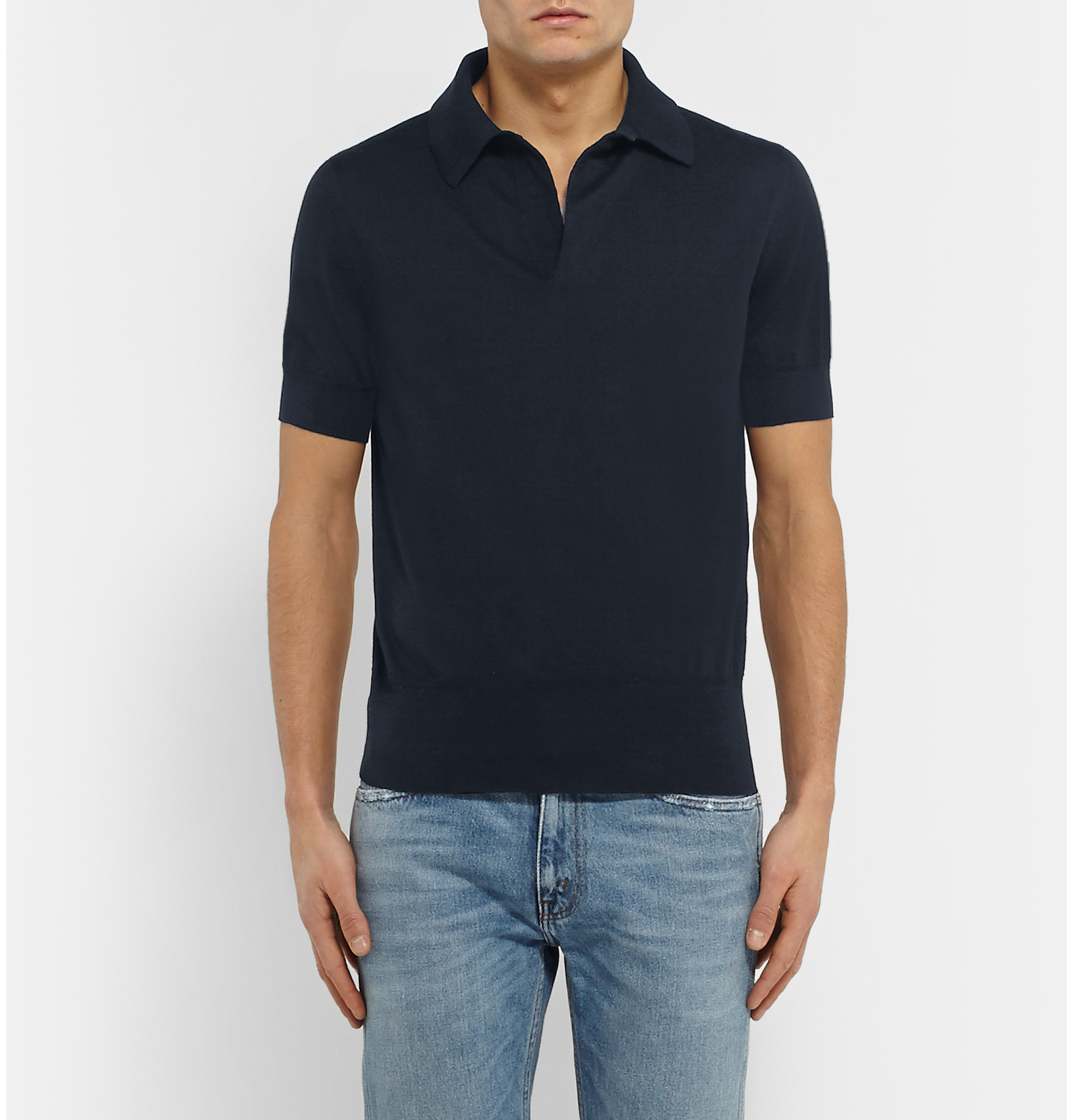 Tom Ford Knitted Cotton Polo Shirt in Blue for Men