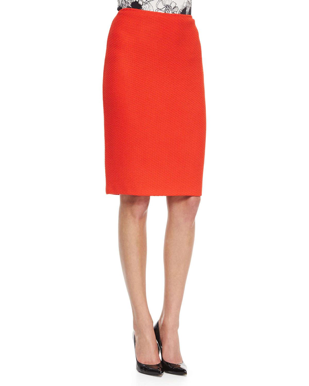 St. john Textural Knit Pencil Skirt in Orange | Lyst