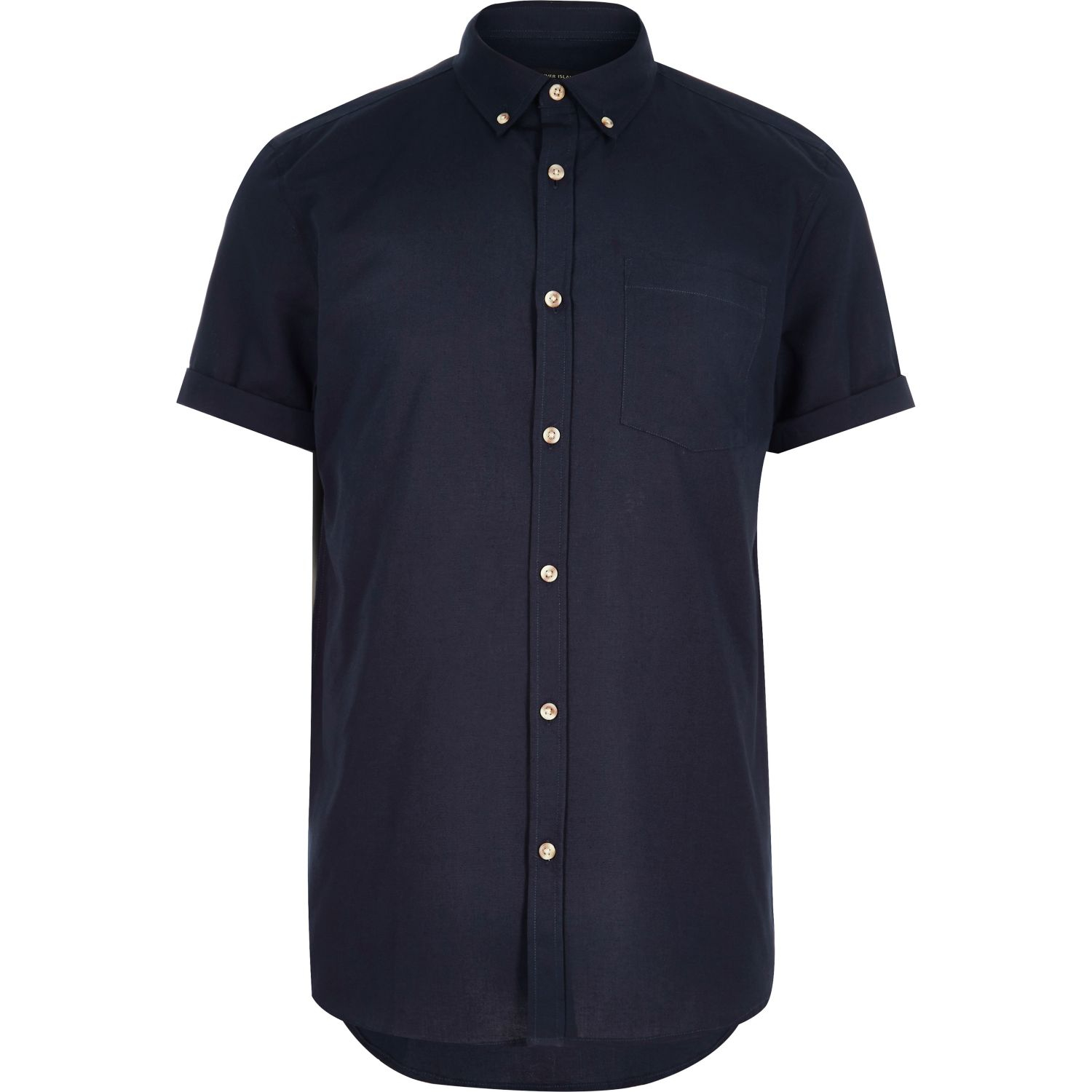 River Island Navy Short Sleeve Oxford Shirt In Blue For