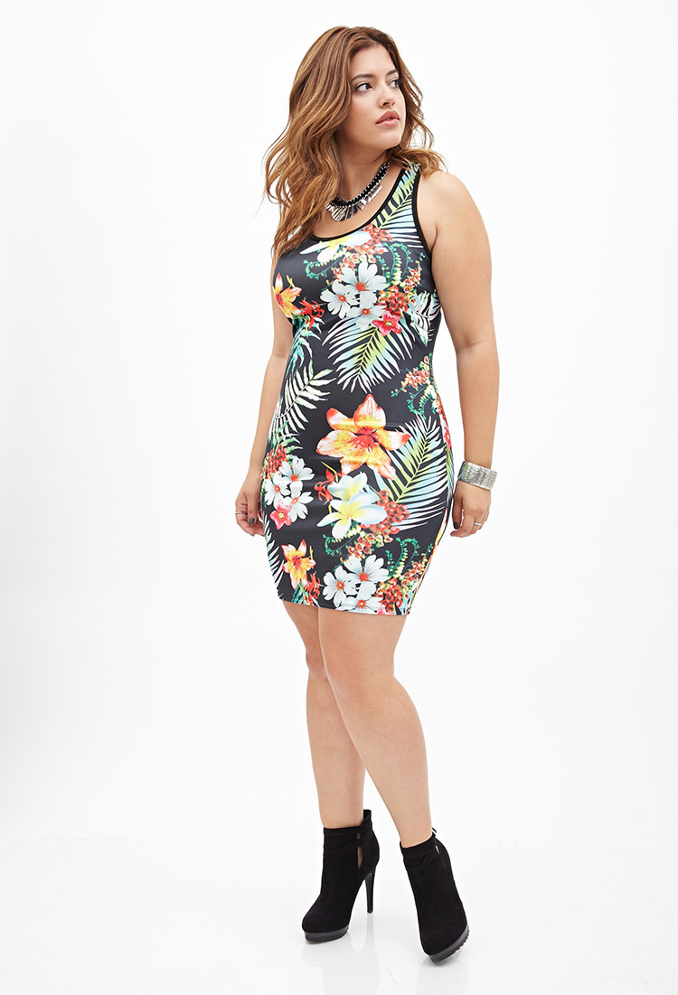 73a269ee5 Forever 21 Tropical Floral Bodycon Dress in Orange - Lyst