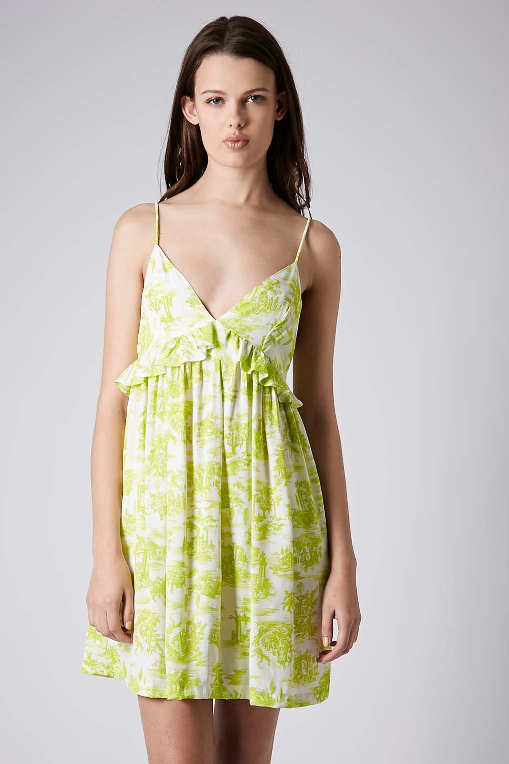 ac61fe2531a Lyst - TOPSHOP Toile Print Babydoll Sundress in Green