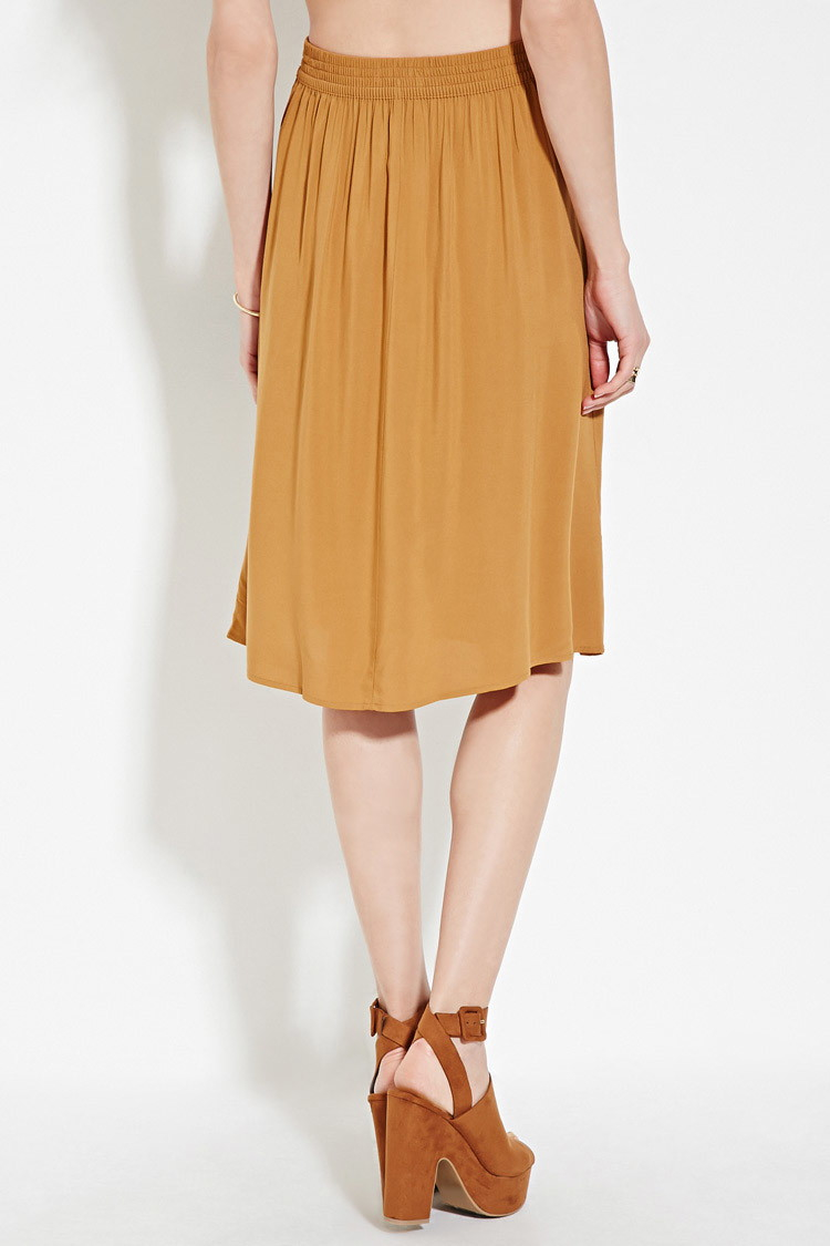 46a56ee3e Forever 21 Contemporary Buttoned Skirt in Natural - Lyst