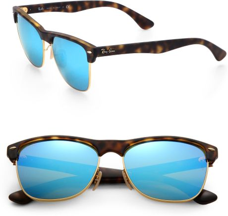 Ray Ban Clubmaster Mirrored Lens Sunglasses In Blue For