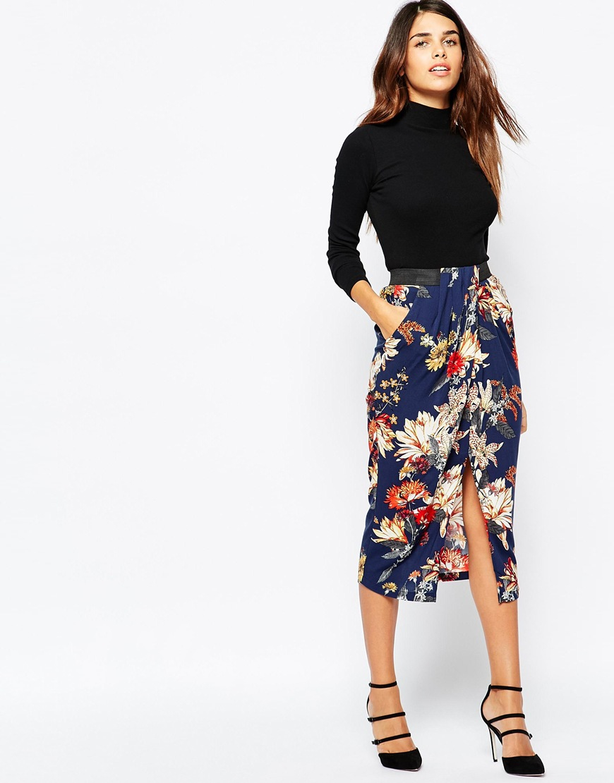 Warehouse Floral Wrap Midi Skirt in Blue | Lyst