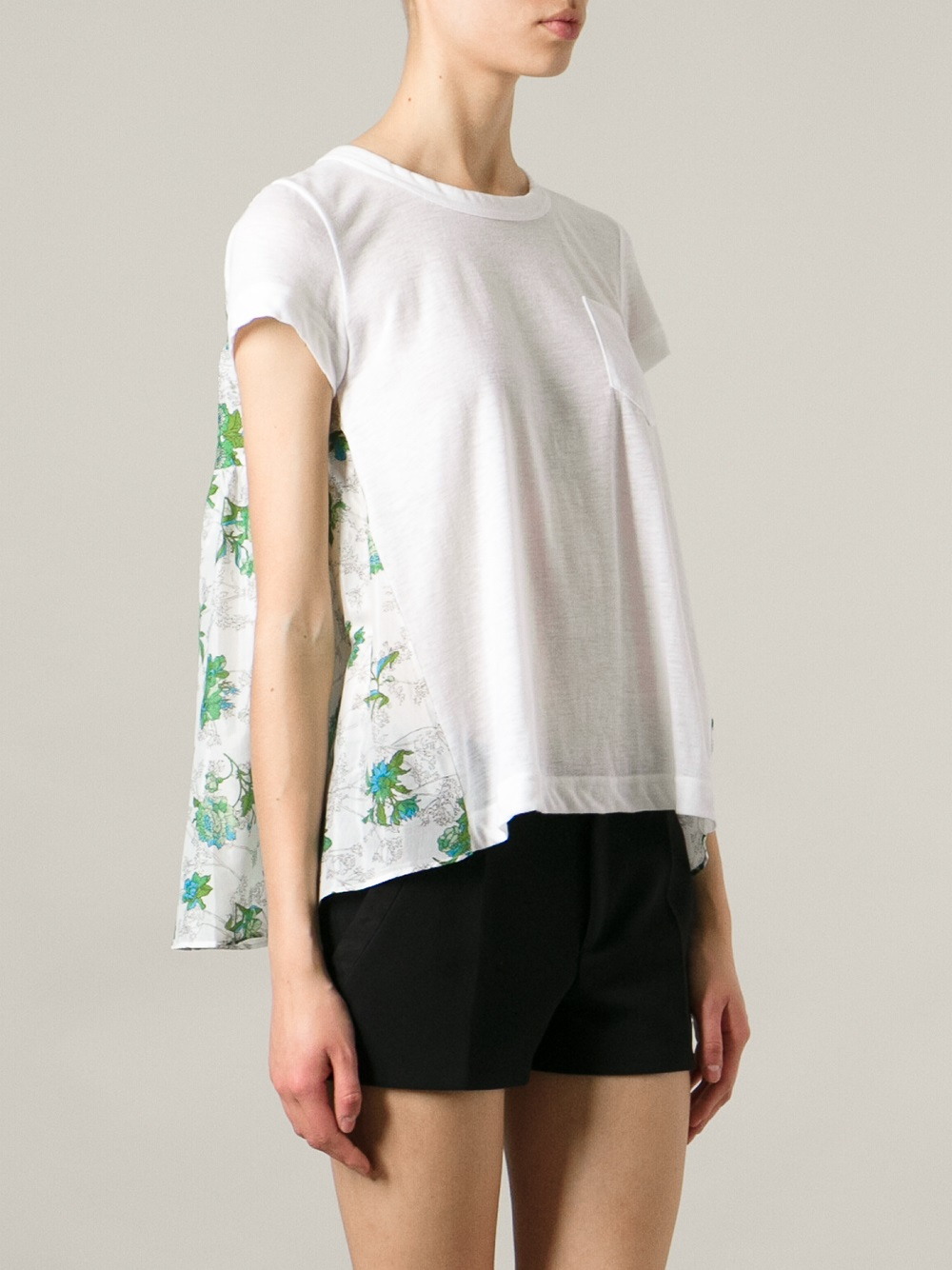Sacai printed pleated back T-shirt Buy Cheap With Paypal 3a3HI