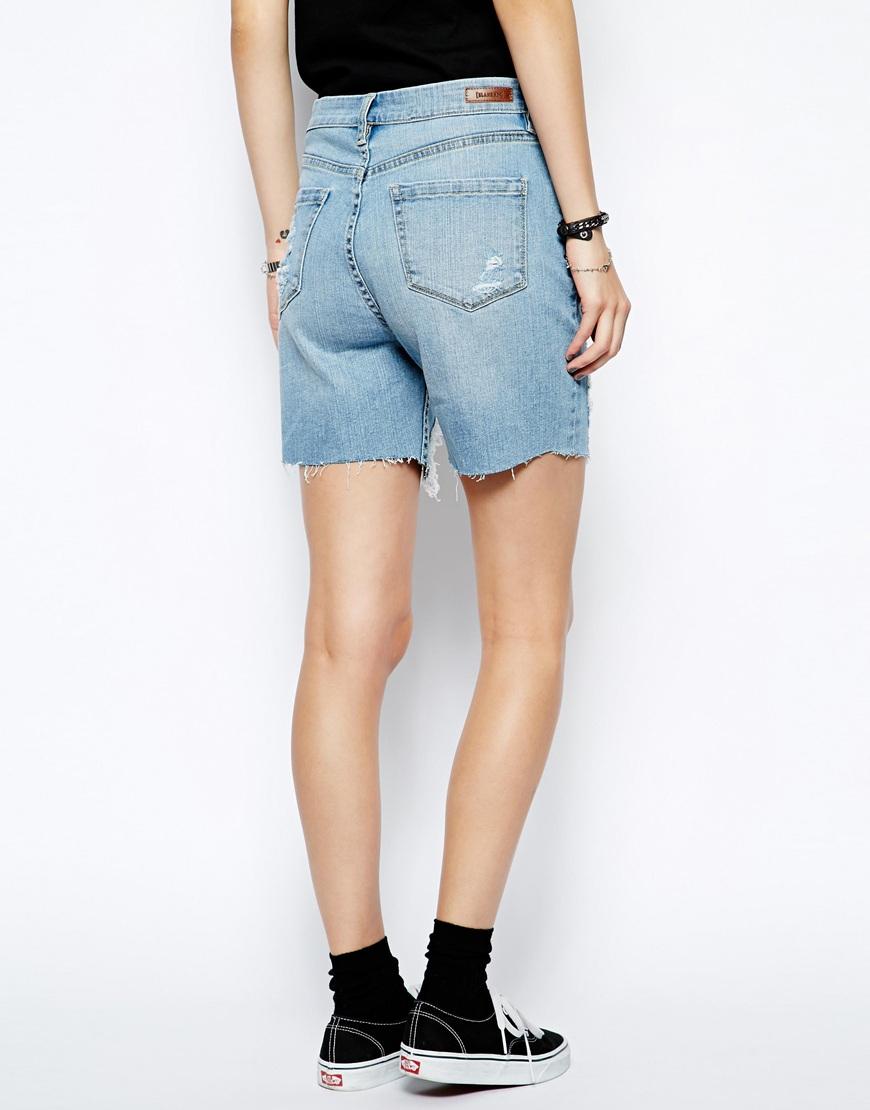 Blank Nyc Shredded Boyfriend Shorts in Blue | Lyst