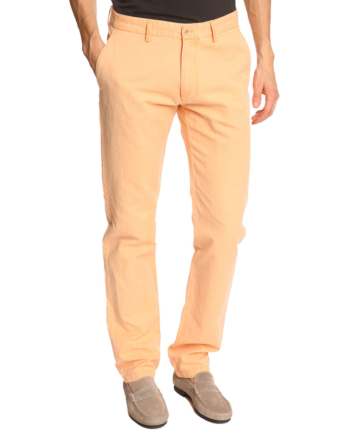 Gant Peach Linen and Cotton Combo Chino Pants in Orange for Men | Lyst