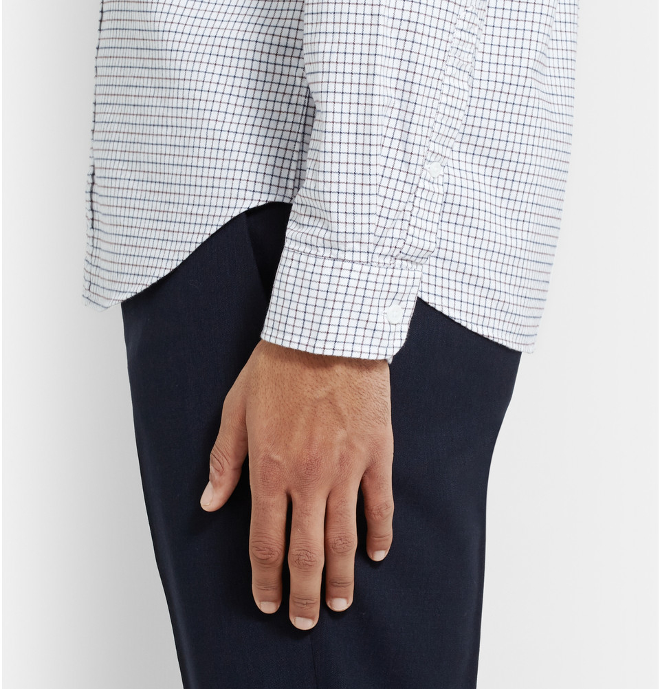 Lyst slim fit button down collar checked cotton for Slim fit white button down shirt