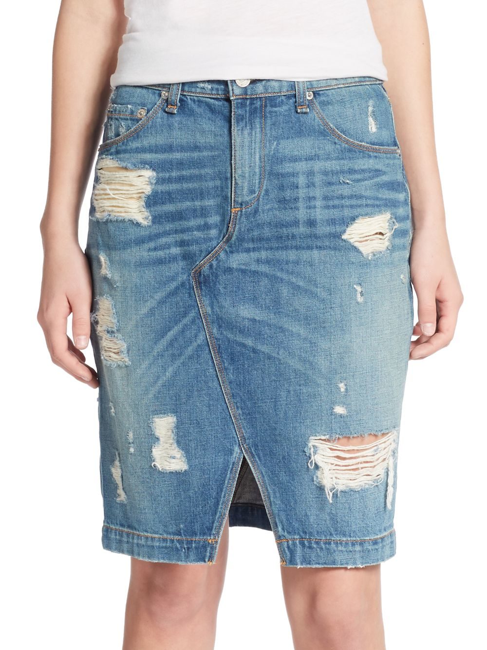 rag bone distressed denim pencil skirt in blue lyst