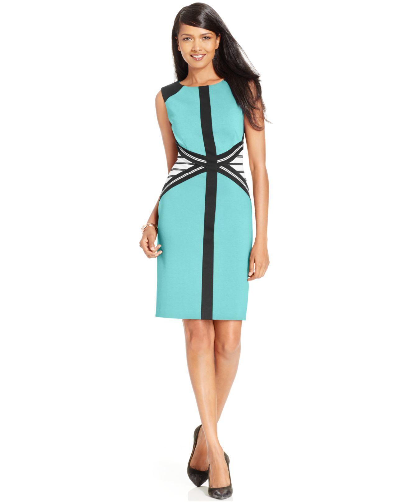 Lyst - Ivanka Trump Sleeveless Colorblocked Sheath Dress in Blue