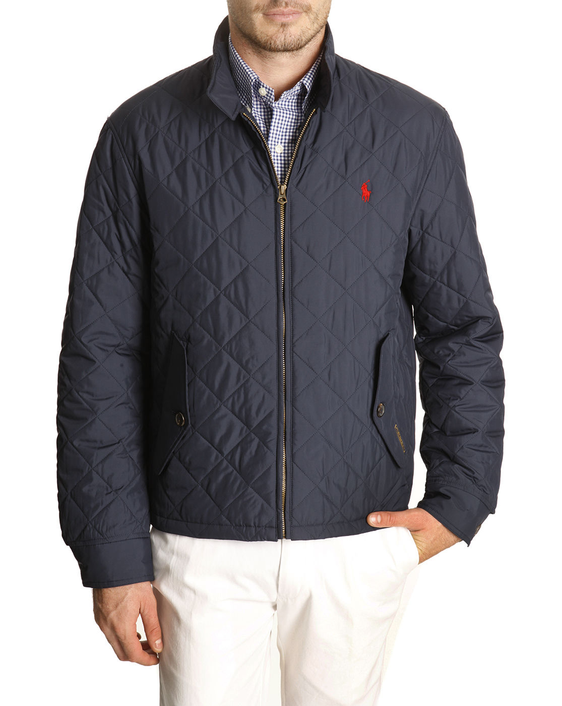 polo ralph lauren navy blue quilted jacket in blue for men. Black Bedroom Furniture Sets. Home Design Ideas