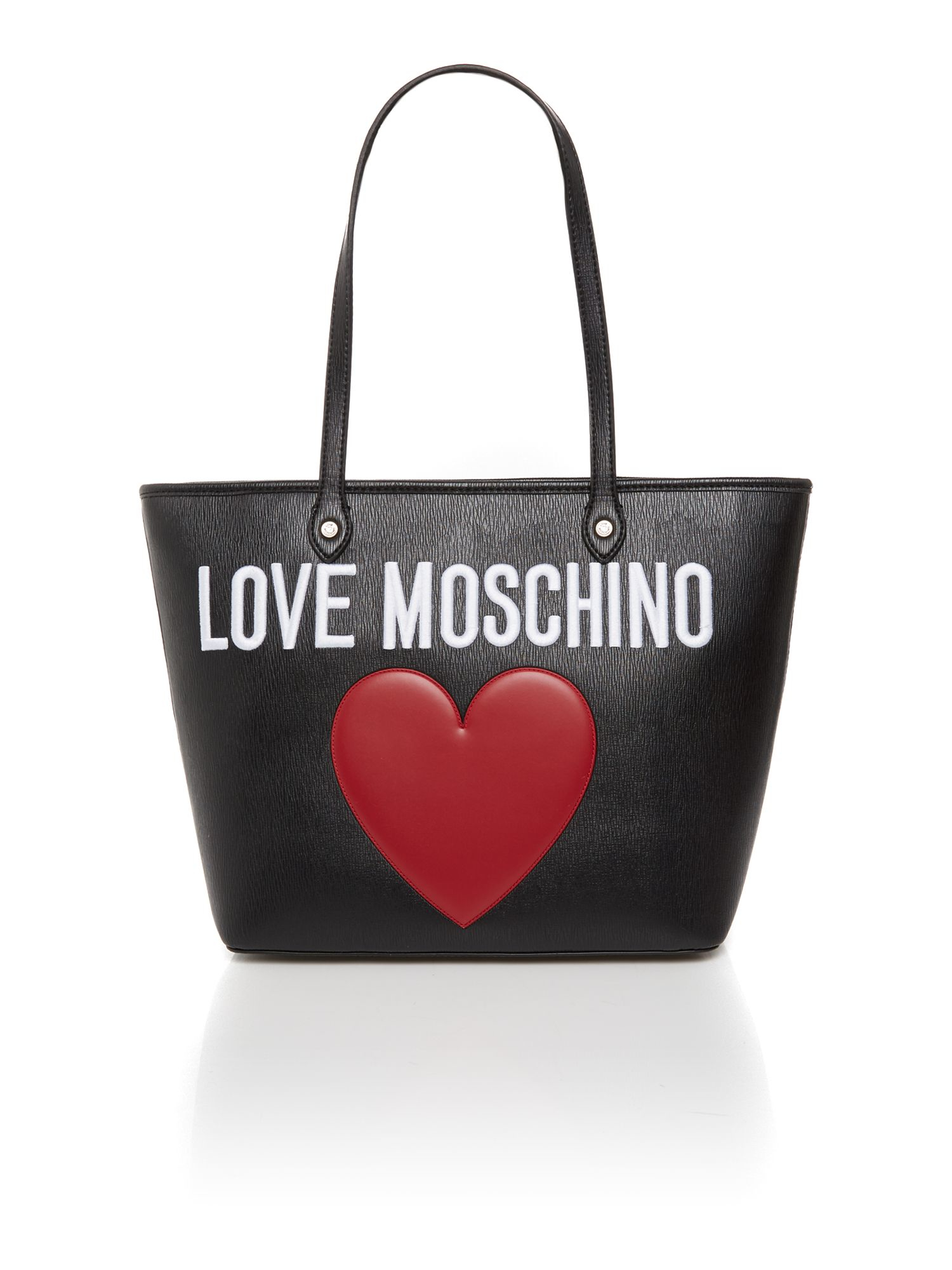 Love Moschino Black Large Heart Tote Bag In Black Lyst