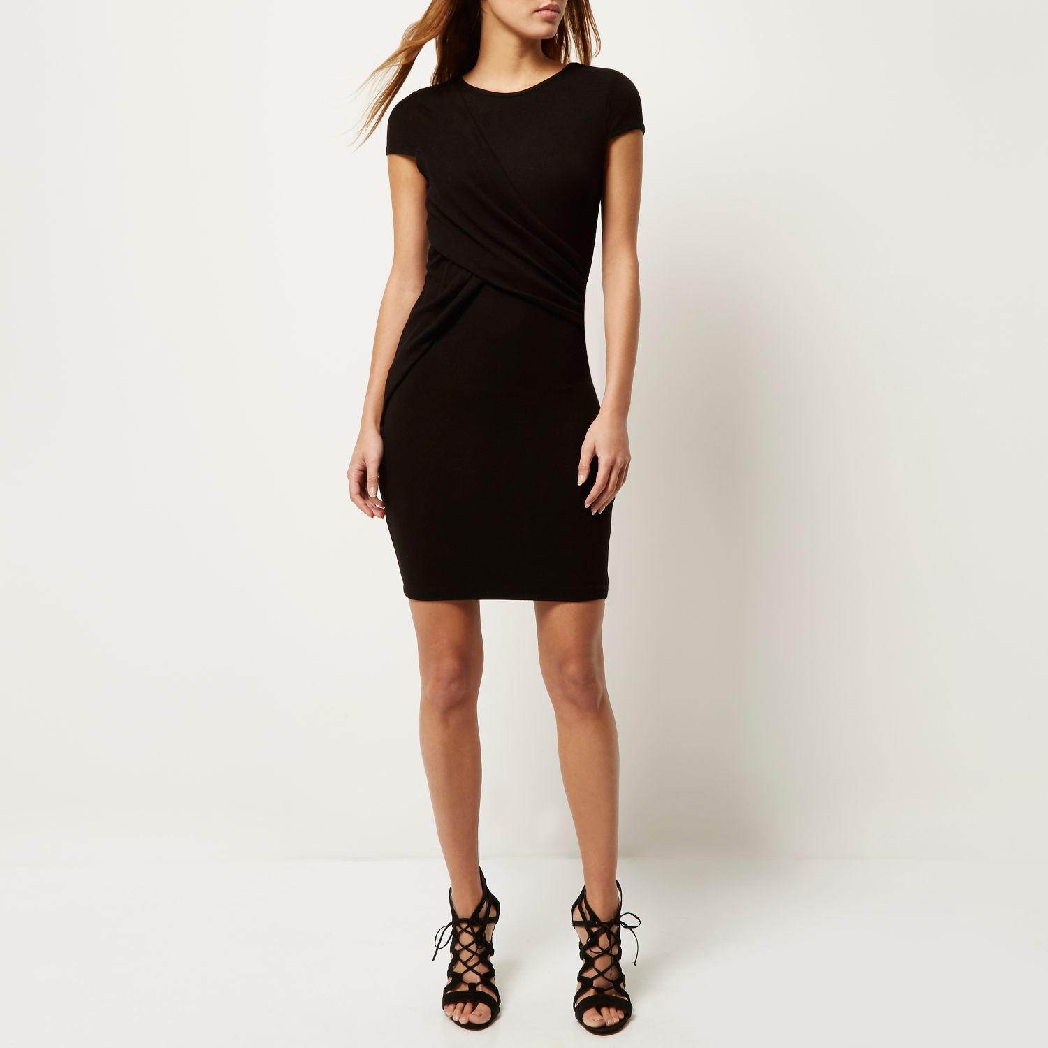 Dresses For Wedding Guest River Island : River island black ruched wrap bodycon dress in lyst