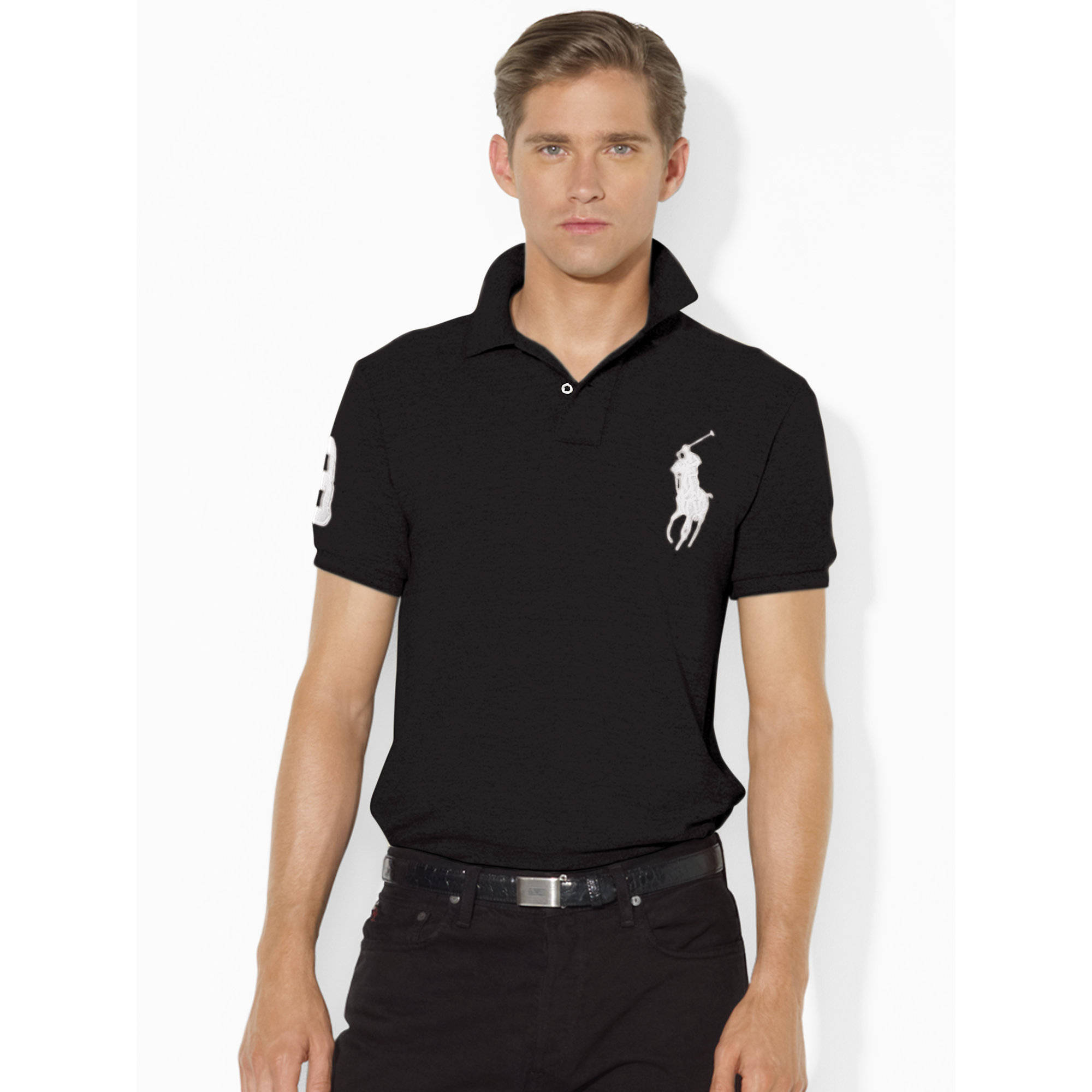 super popular 1465d b902c Polo Ralph Lauren Black Slim-fit Polohemd Mit Big Pony for men