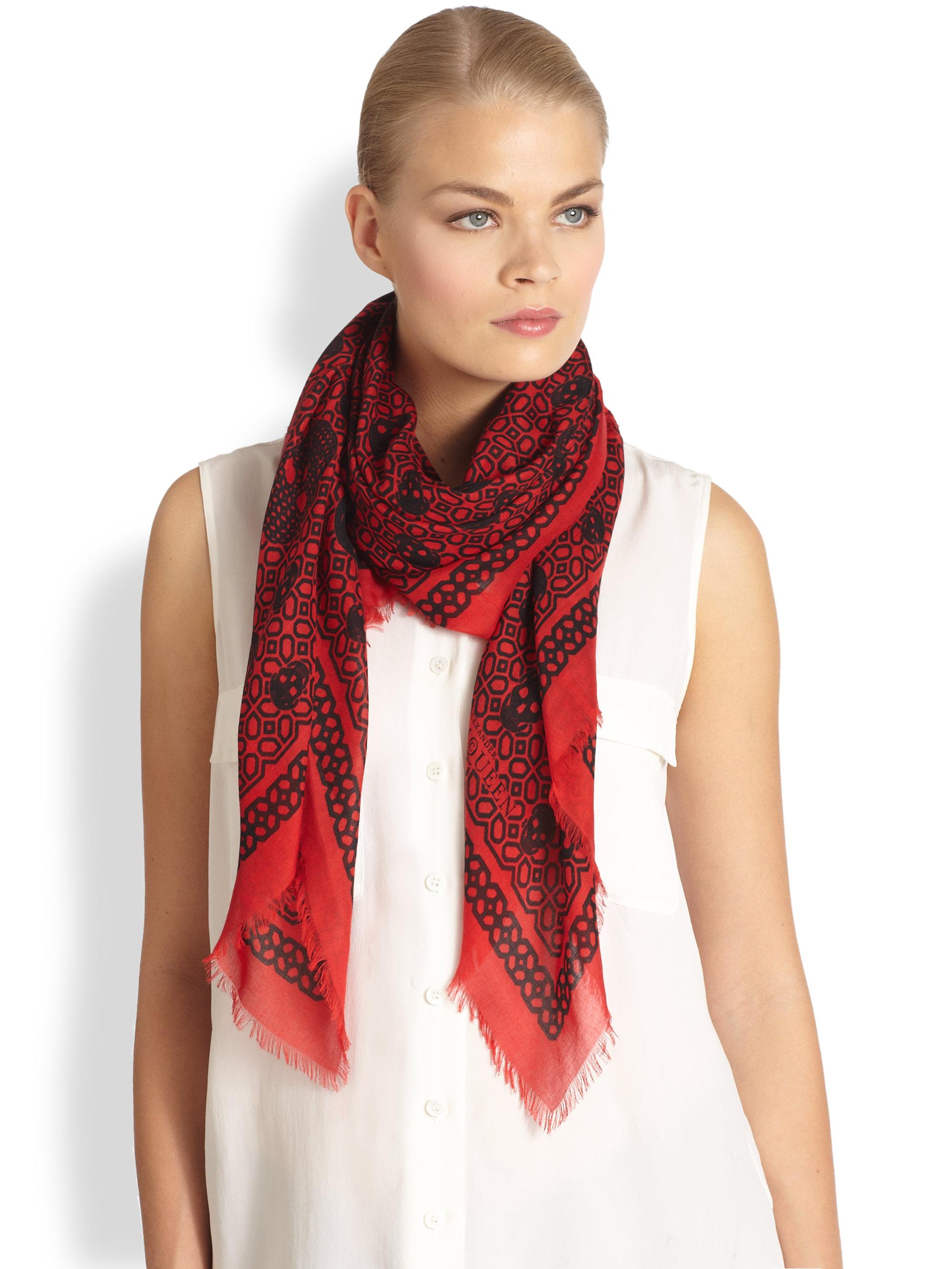 mcqueen skull print silk scarf in black