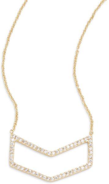 Saks Fifth Avenue Pavé Chevron Pendant Necklace in Gold | Lyst