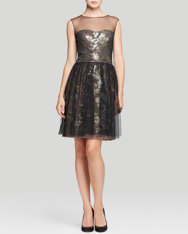 Vera Wang Dress Illusion Neck Metallic Lace Fit And