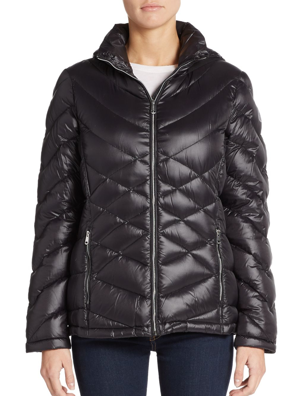 Lyst Calvin Klein Quilted Hooded Down Jacket In Black