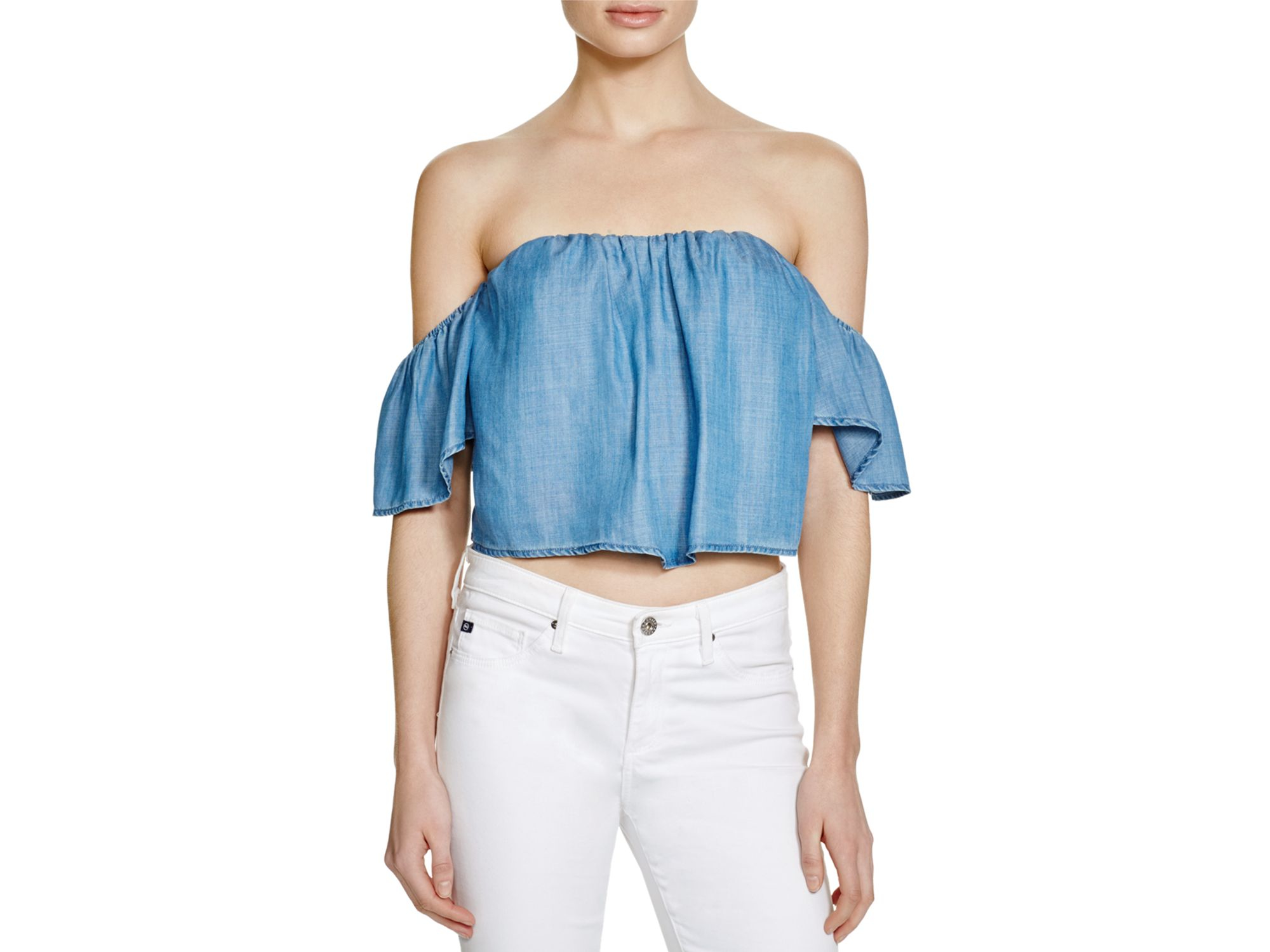 be8070c663e Lyst - Guess Chambray Corset Crop Top in Blue