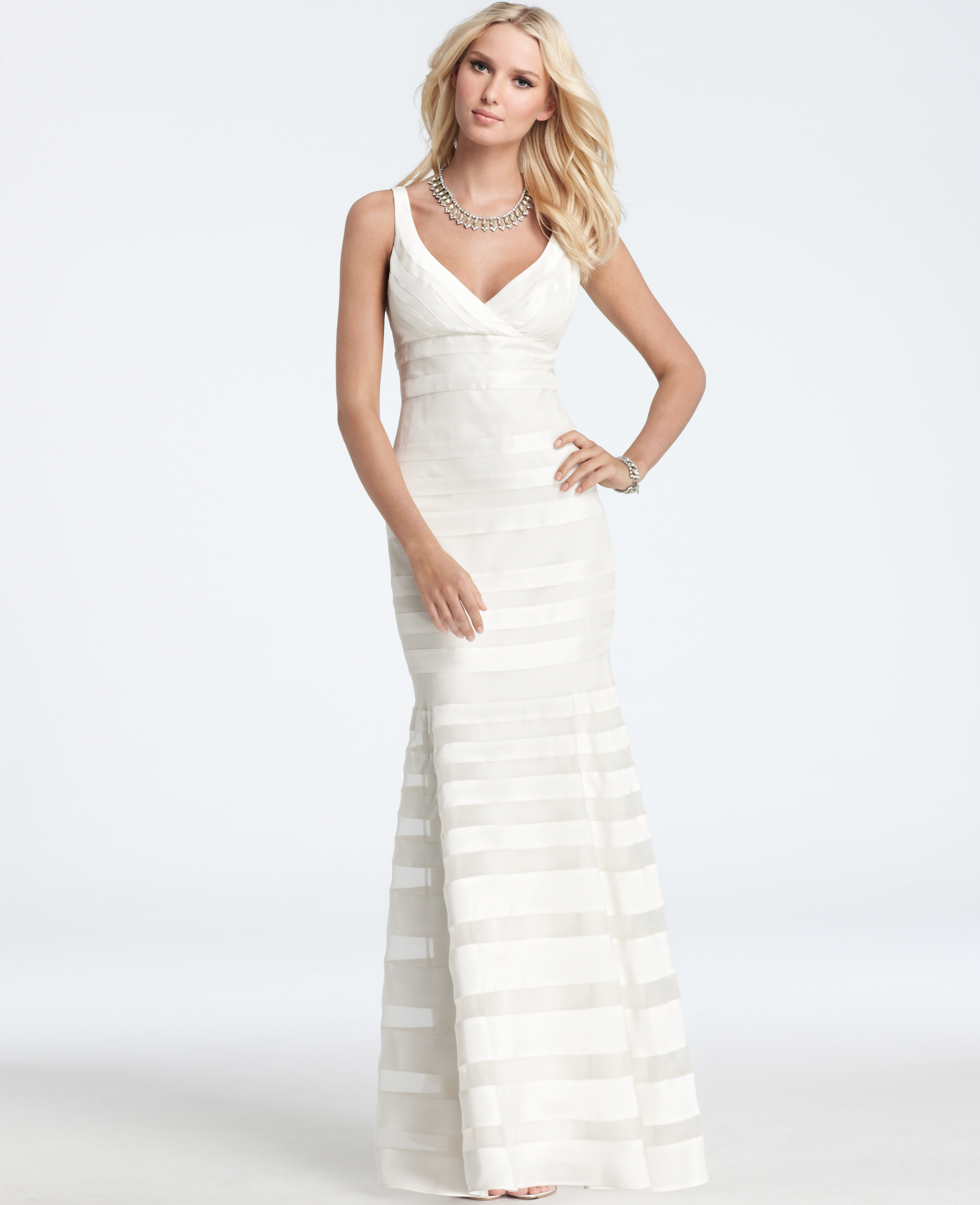 Lyst - Ann Taylor Silk Georgette Mermaid Wedding Dress in White