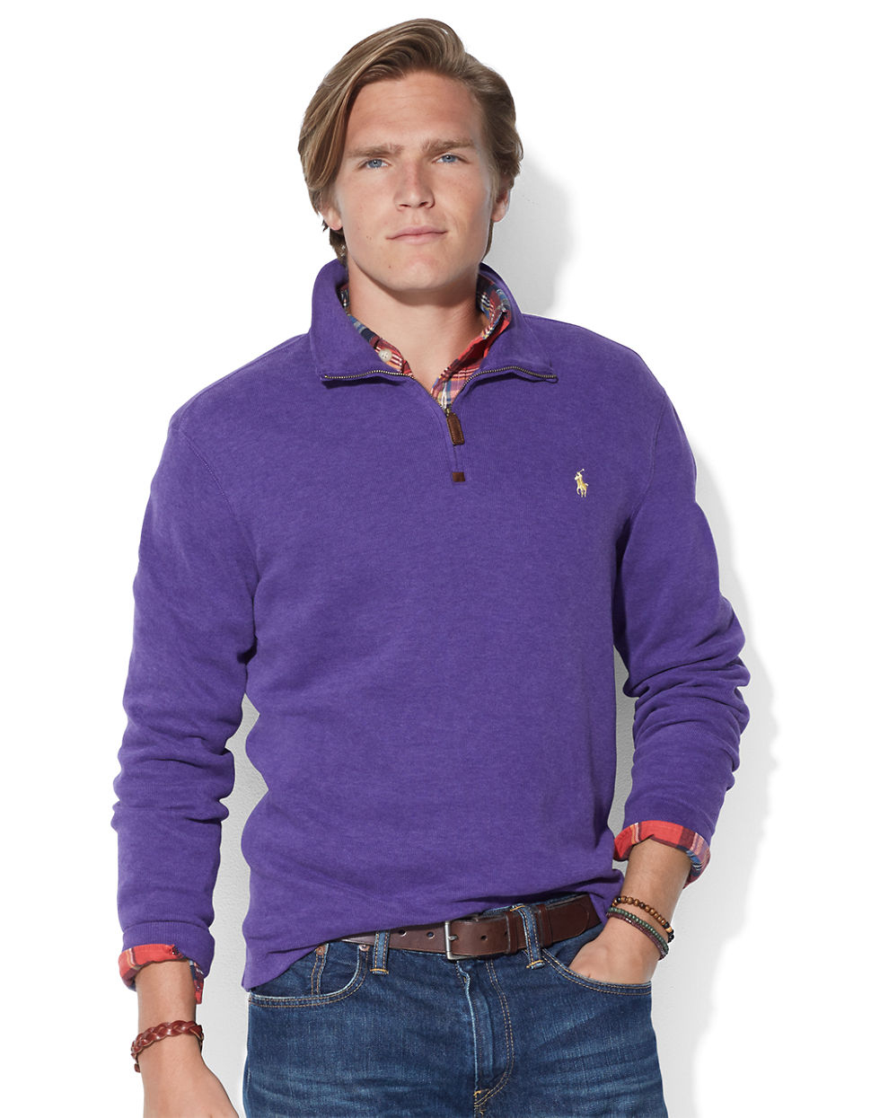 polo ralph lauren purple french rib half zip pullover for men lyst. Black Bedroom Furniture Sets. Home Design Ideas