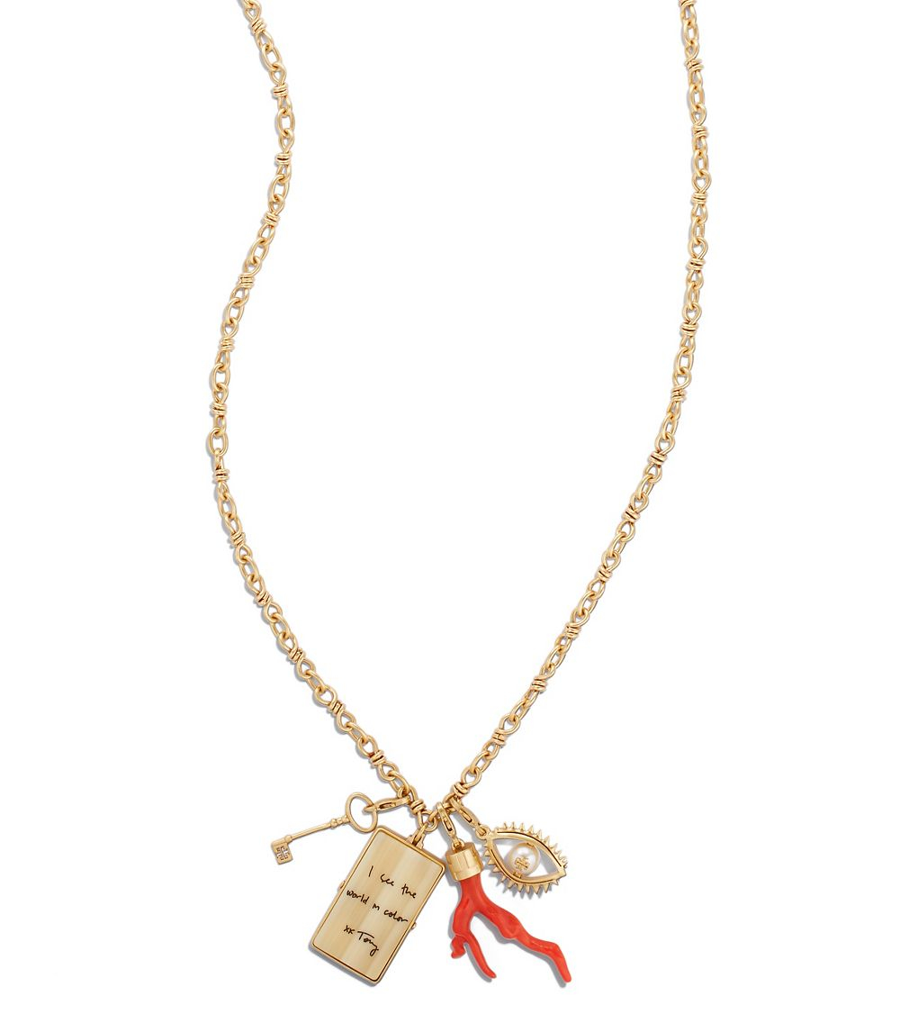 Lyst tory burch charm cluster pendant necklace in red gallery aloadofball Image collections