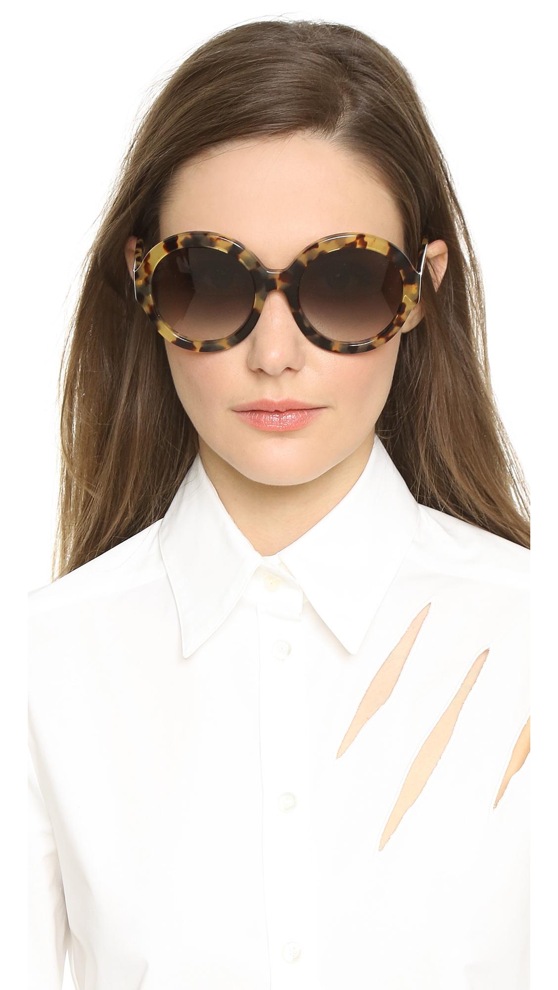 861358270d60 Prada Rounded Sunglasses - Medium Havana/Grey Gradient in Gray - Lyst