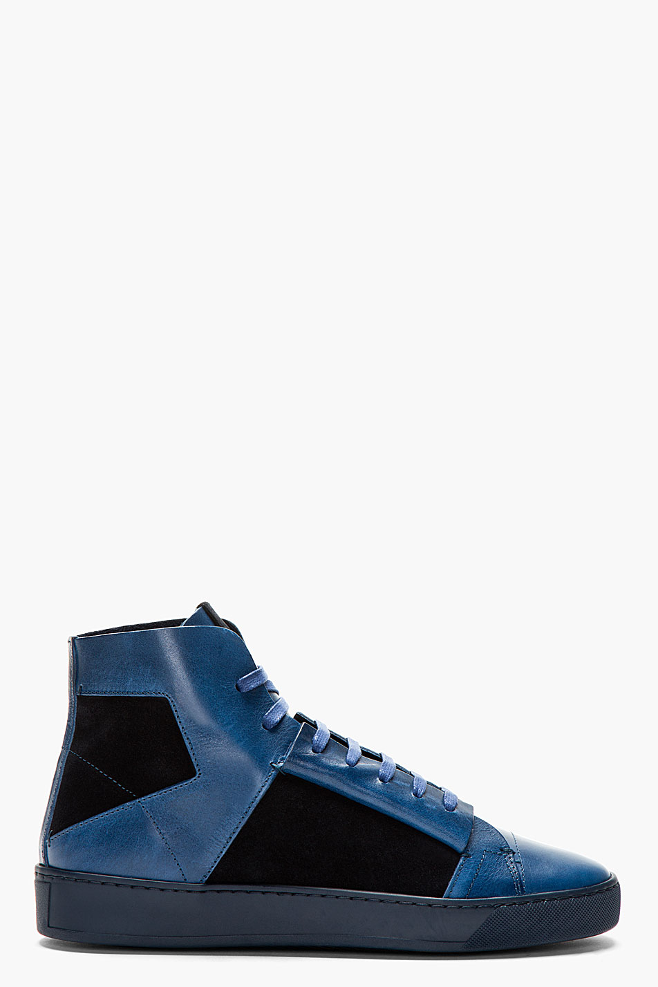 calvin klein navy leather high top jay sneakers in blue for men navy lyst. Black Bedroom Furniture Sets. Home Design Ideas