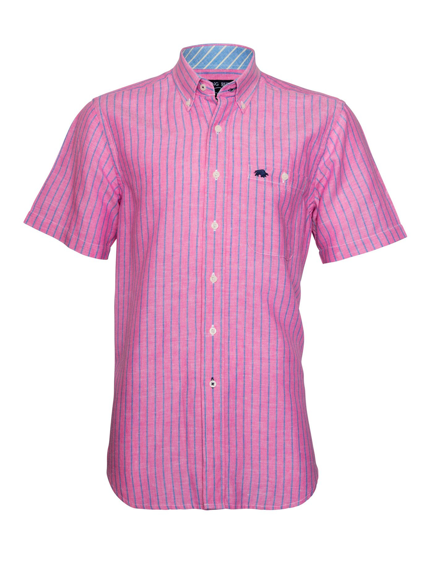 raging bull stripe short sleeve button down shirt in pink
