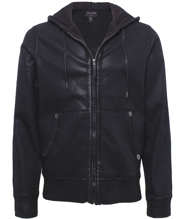 True Religion Coated Hoodie in Black for Men - Lyst