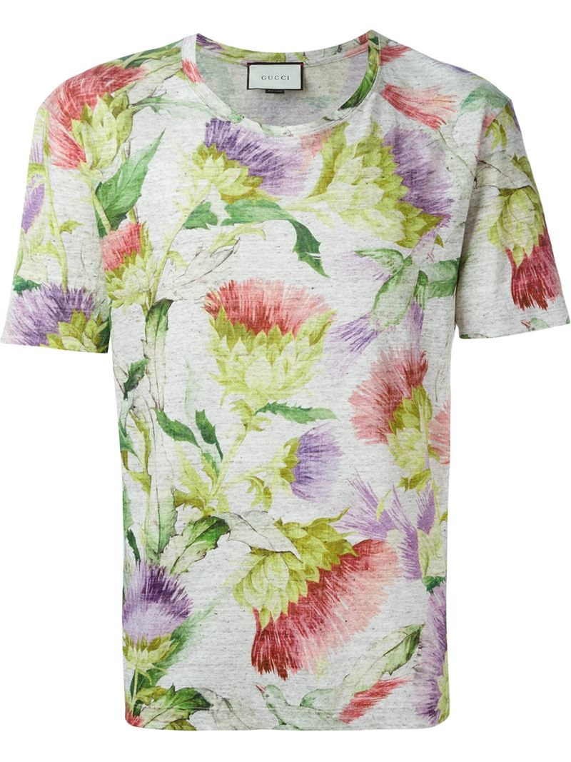 lyst gucci floral print t shirt for men