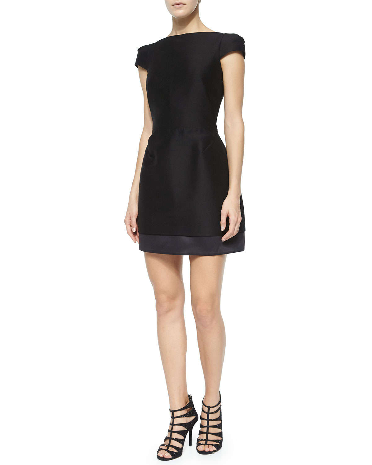 Halston cap sleeve structured cocktail dress in black lyst for Halston heritage shirt dress
