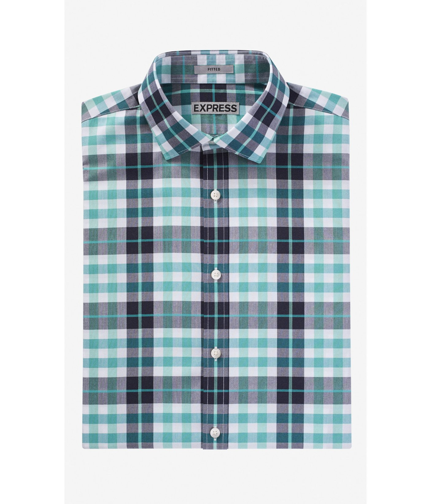 lyst express fitted non iron plaid shirt in green for men
