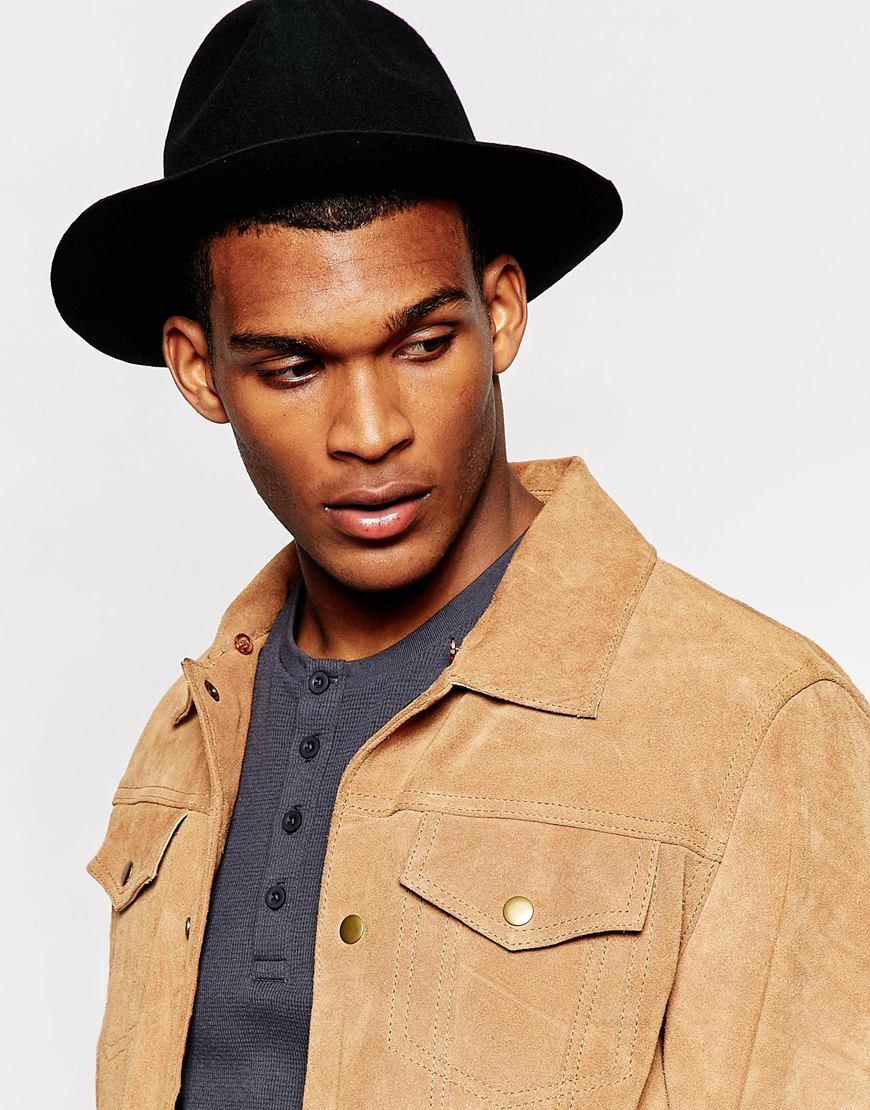 e6a383a7cb ASOS Fedora Hat In Black Felt With Unstructured Brim in Black for ...