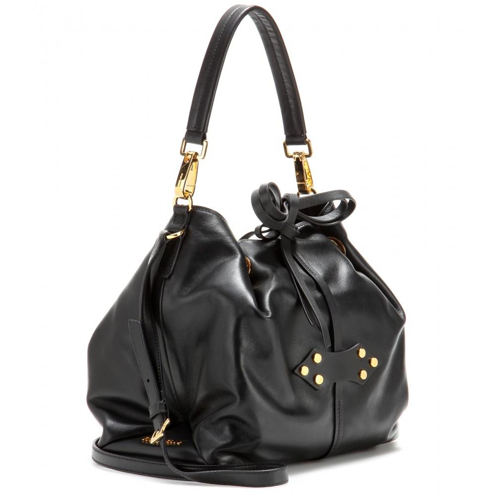Miu miu Leather Bucket Bag in Black (nero) | Lyst