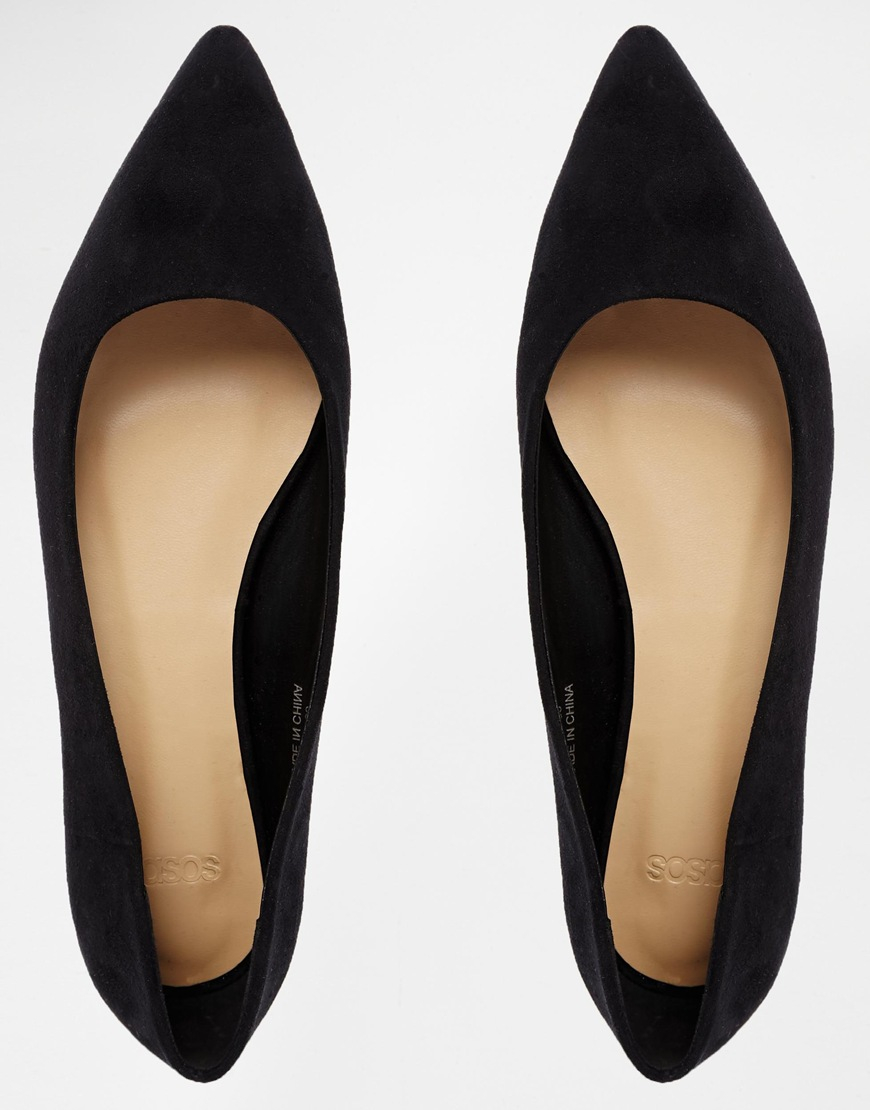 b94c8e349 ASOS Life Story Pointed Ballet Flats in Black - Lyst