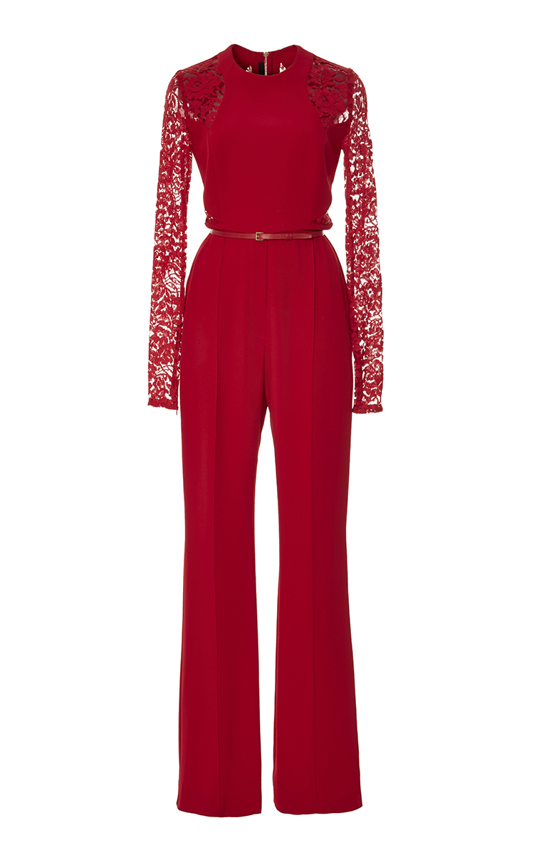 Elie Saab Crepe Cady And Lace Jumpsuit In Red Lyst