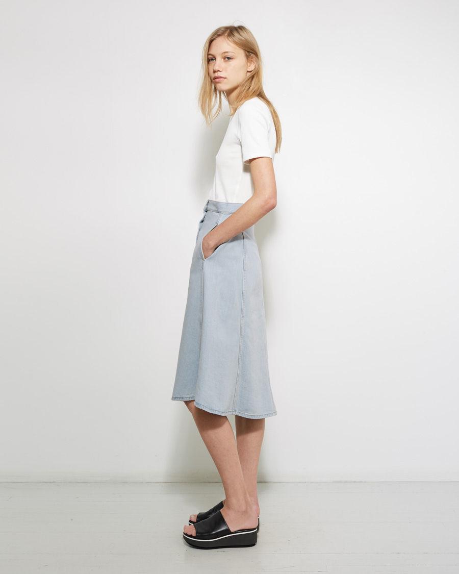 acne studios kady denim skirt in blue lyst