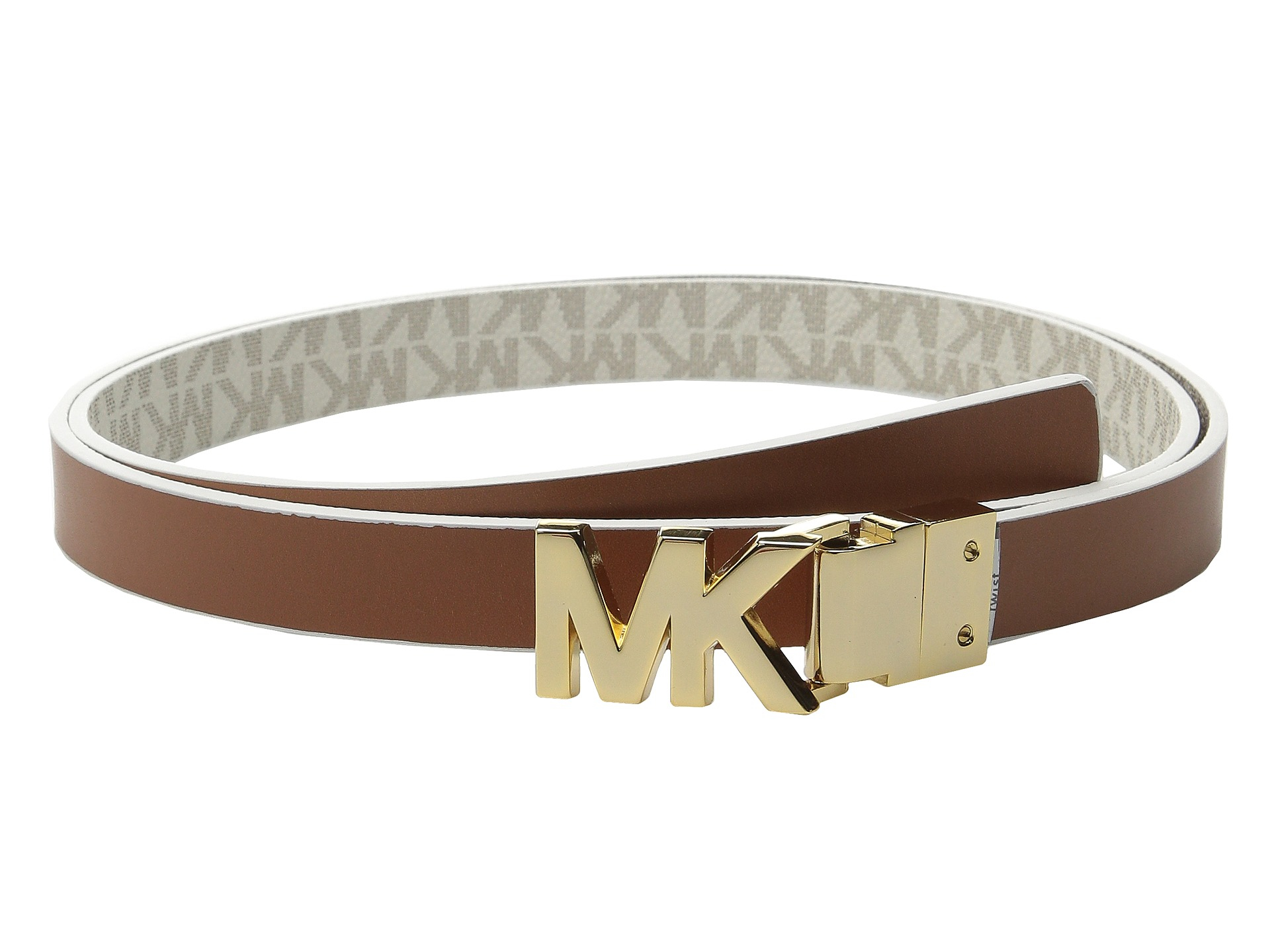 ab11b34cf685 new style promo code for lyst michael michael kors 20mm reversible logo pvc  to smooth belt