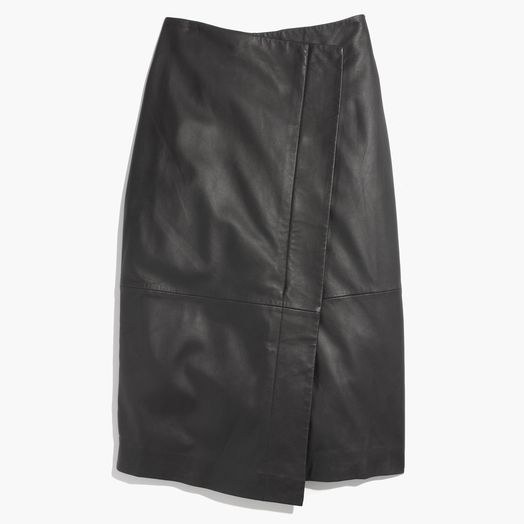 Madewell Leather Wrap Midi Skirt in Black | Lyst