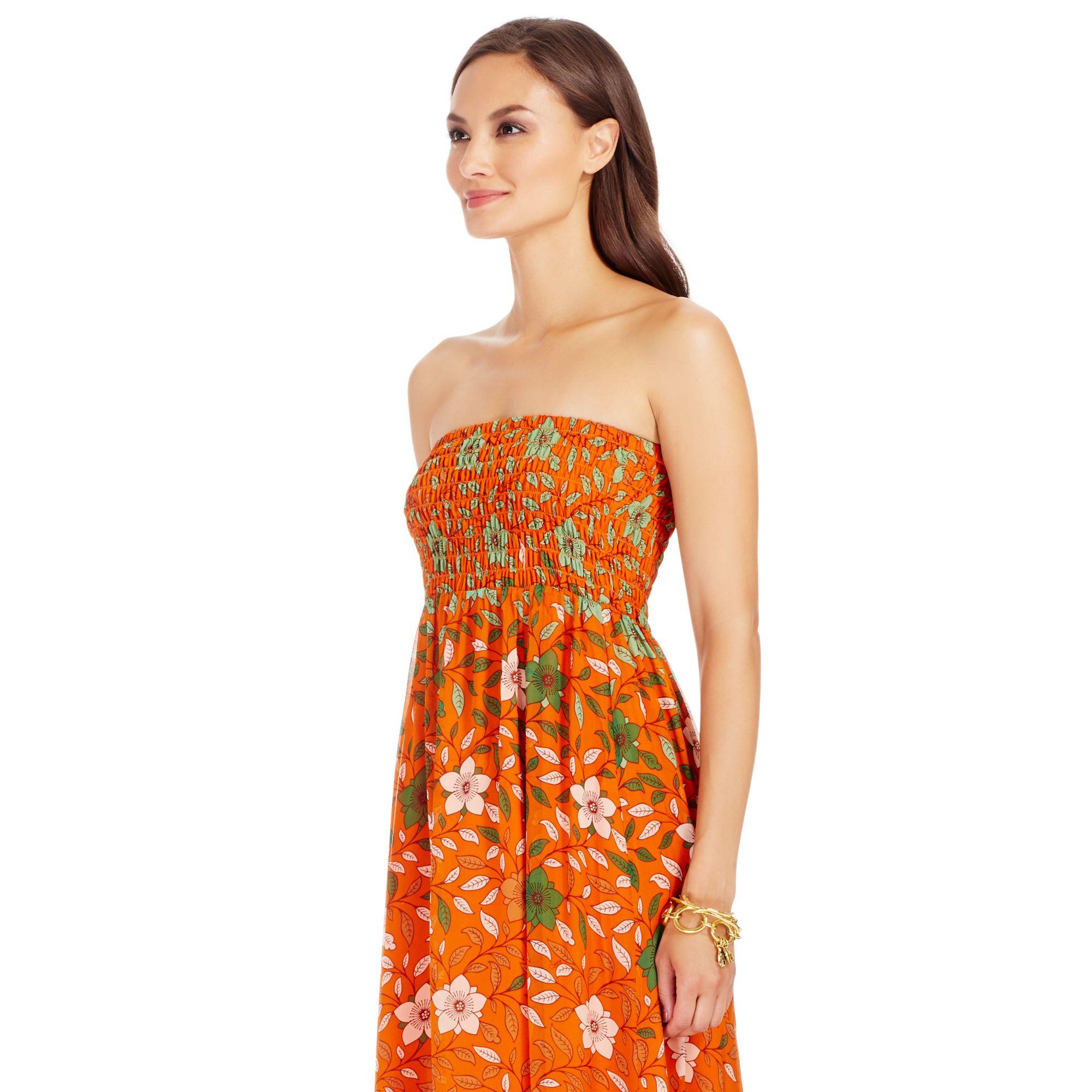 lyst diane von furstenberg dvf hannah strapless chiffon maxi dress in orange. Black Bedroom Furniture Sets. Home Design Ideas