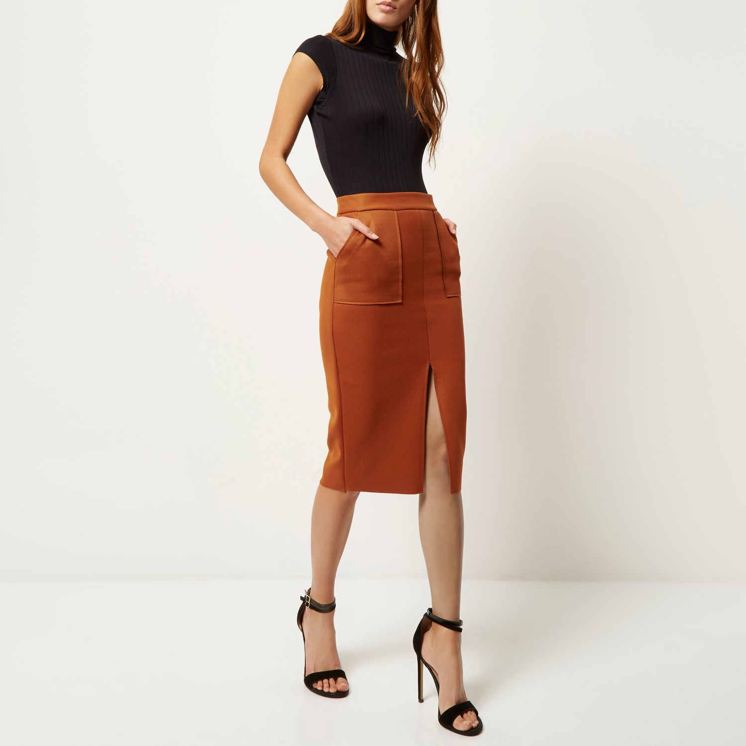 Peach leather skirt river island – Modern skirts blog for you