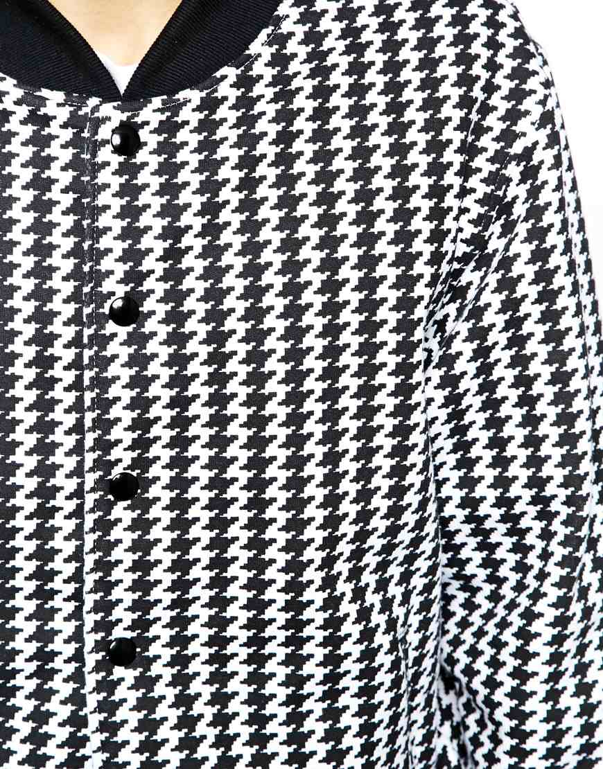 1bb9aea57 American Apparel Black Bomber Jacket In Houndstooth for men