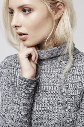 d58316b17130 TOPSHOP Petite Ribbed Roll Neck Sweater in Gray - Lyst