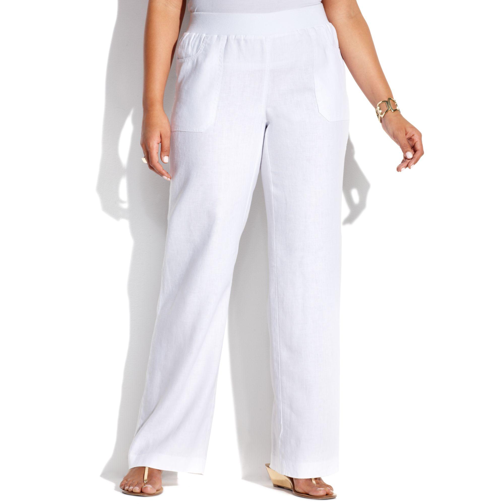 Inc International Concepts Plus Size Wideleg Linen Pants ...