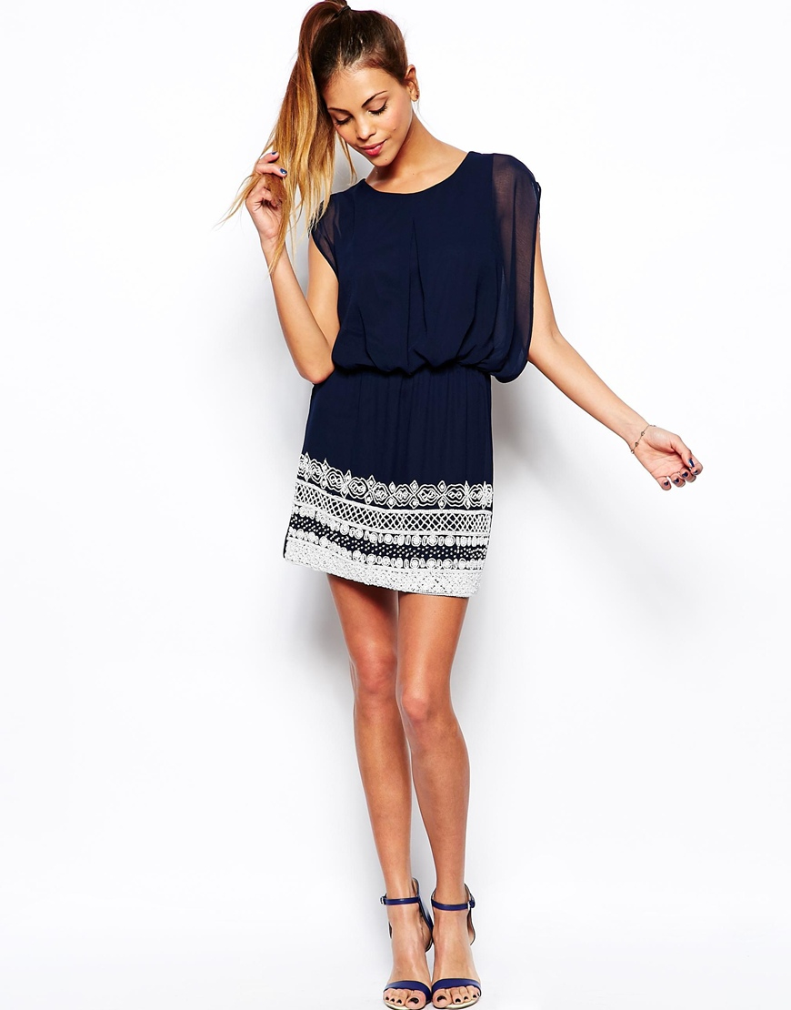7437d7484 TFNC London Roxy Dress with Embellished Hem in Blue - Lyst