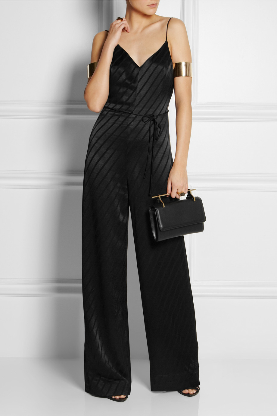 Lyst Topshop Striped Satin Jumpsuit In Black