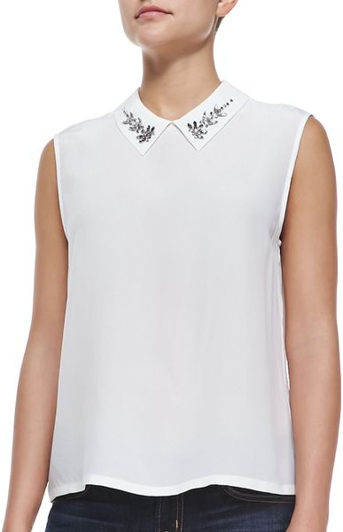 White Sleeveless Blouse Collar Lace Henley Blouse