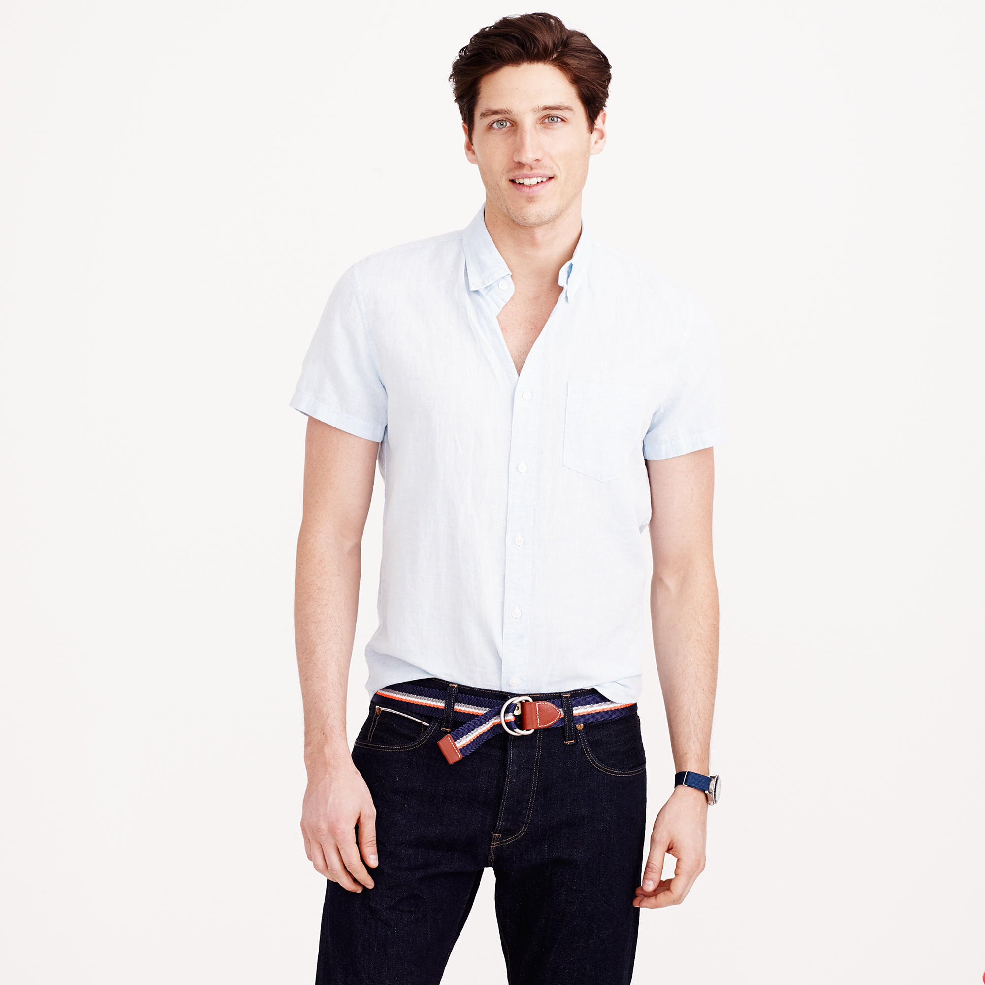 07670806e5d J.Crew Short-sleeve Irish Linen Shirt in Blue for Men - Lyst