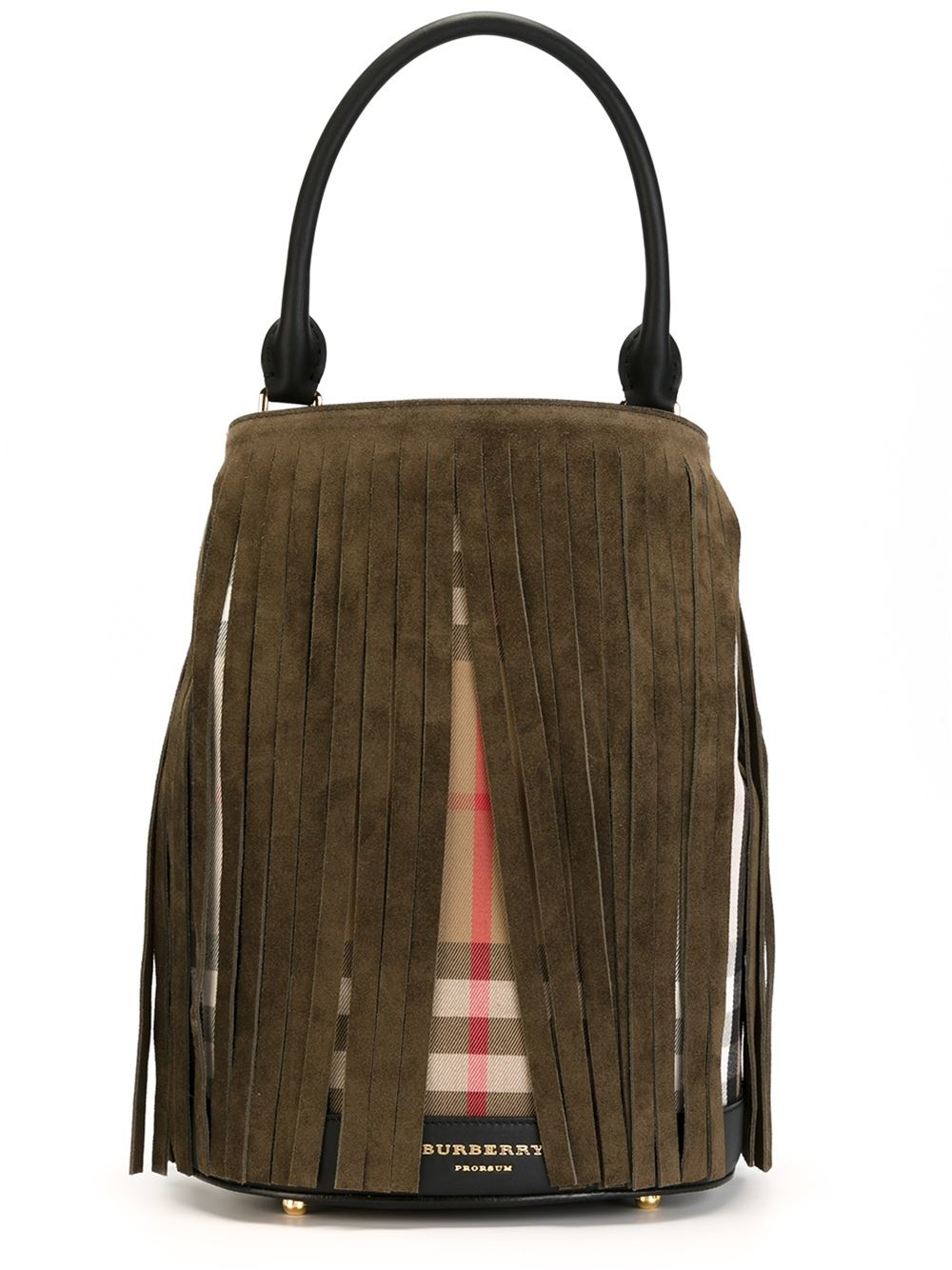 Burberry Prorsum House Check Fringed Bucket Tote in Green (Black)